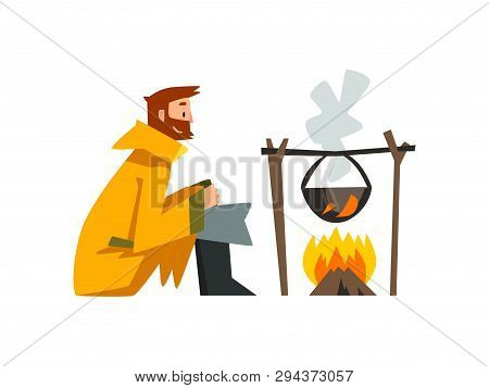 Fisherman Cooking Fish Soup In Cauldron Over Bonfire, Bearded Fishman Character In Raincoat And Rubb