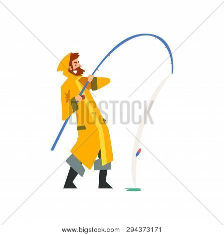 Fisherman Pulling Big Fish With Fishing Rod, Fishman Character In Raincoat And Rubber Boots Vector I