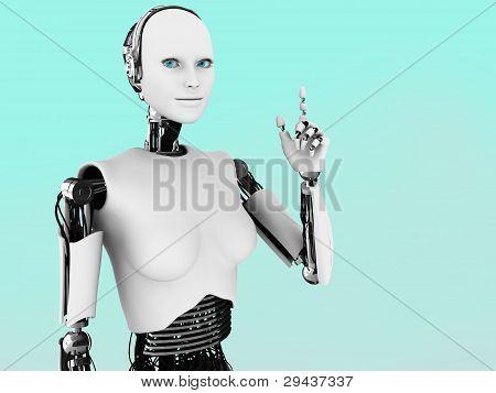 Robot Woman Having An Idea.