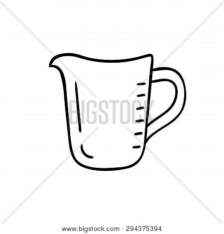 Measuring Cup - Vector Icon. Kitchen Jug. Empty Measuring Cup Icon Isolated On White