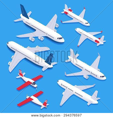 Isometric Airplanes. Passenger Jet Airplane, Private Aircraft And Airline Plane. Aviation Planes 3d