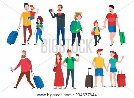 Travel Characters. Travelling Group, Family Couple Holiday Vacation And Sightseeing Travels Tourists