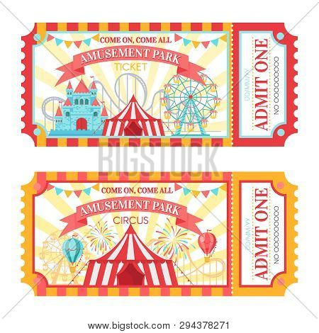 Amusement Park Ticket. Admit One Circus Admission Tickets, Family Park Attractions Festival And Amus