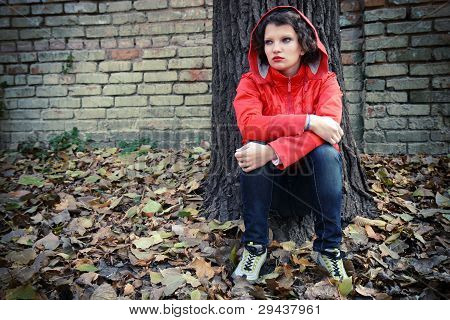 Depressed Teenager Facing Her  Problems.