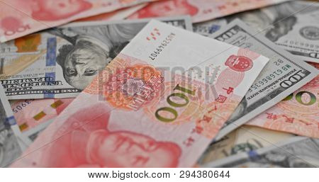 Counting with chinese RMB and USD banknote