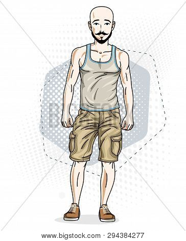 Confident Athletic Handsome Hairless Young Man Standing, Hipster. Vector Illustration Of Male With B