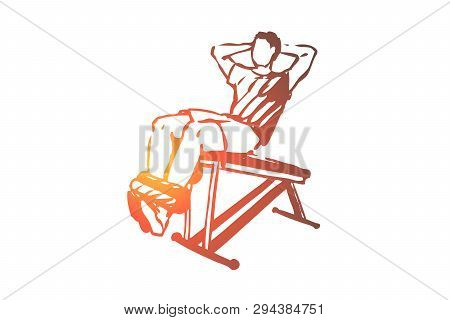 Abdominal, Exercises, Body, Building, Workout Concept. Hand Drawn Man Doing Abdominal Exercises In G