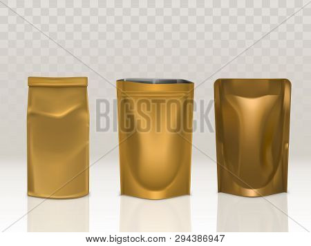 Golden Paper Or Foil Sachet Pouch With Clip And Doy Pack Set Isolated On Transparent Background. Foo