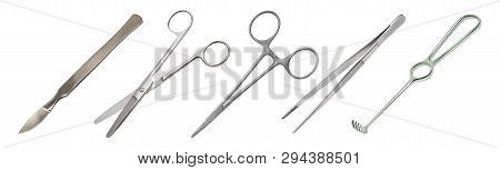 Set of surgical instruments. Tweezers, all-metal reusable scalpel, clip with fastener, straight scissors with rounded ends, jagged hook Folkmann. Vector illustration poster