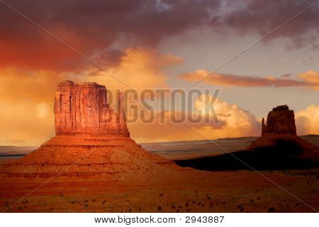 Rock Formations In The Navajo Park Of Monument Valley Utah