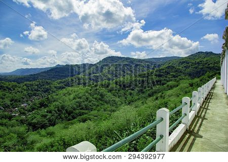 Bridge In Hills With Walls Next Of Tomb Of The Imogiri Kings. Landscape View Of Bantul From Tomb Of