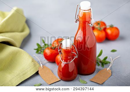 Homemade Tomato Ketchup In Old Style Glass Bottles