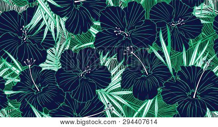 Tropical Seamless Pattern. Hand Drawn Texture With Palm Tree Leaf, Banana Leaves And Hibiscus Flower