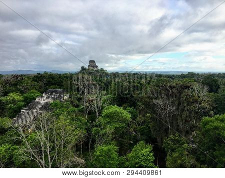 A view of the vast dense jungle of Tikal National Park outside of Flores, Guatemala, in central America.  Hidden in the jungle are the ancient Mayan temples and pyramids of an old civilization. poster
