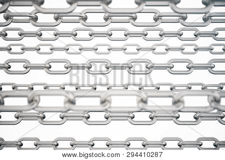 3d Illustration Metal Chains. Metal, Steel Chains Isolated On White Background. Metal Chains For Ind