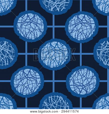 Indigo Blue Hand Drawn Spotted Polka Dot Circles Seamless Pattern. Sketchy Dotty Vector Illustration