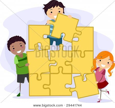 Illustration of Kids Solving a Giant Jigsaw Puzzle