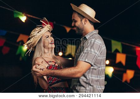 Brazilian Couple Wearing Traditional Clothes For Festa Junina - June Festival - Dancing Under The Ni