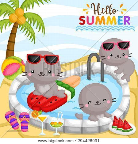 A Vector Of Cute Little Seal Playing Around At Pool And Surrounded By Food And Drinks