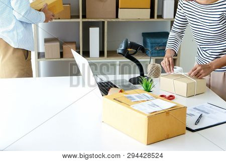 Ecommerce Concept, In Office Or Home Working