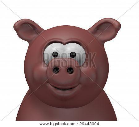 happy swine head - 3d cartoon illustration poster