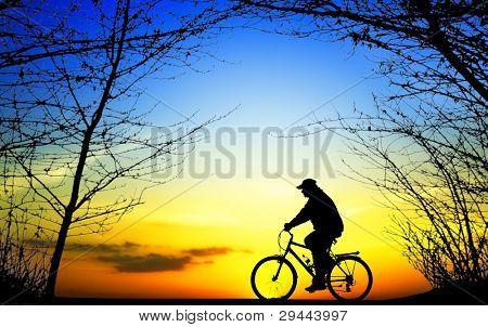 Bike trip at sunset