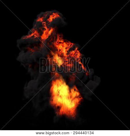 4K Big Explosion Effect Black Background, Realistic Explosions Boom, Realistic Fiery Explosion Over