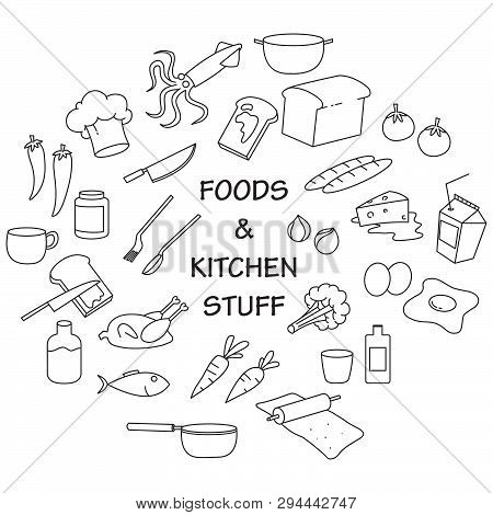 Illustration Of Food And Kitchen Stuff Doodle Set
