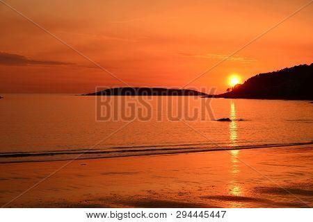 Sunset; Overviw From Nigran With Estelas Islands