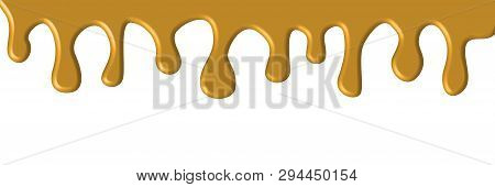 Dripping Caramel, Cream, Ice Cream, White Chocolate, Vanilla Isolated On White Background.. Drops Fl
