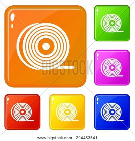 Abs Or Pla Filament Coil Icons Set Collection Vector 6 Color Isolated On White Background