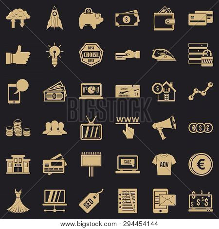 Buy In Internet Icons Set. Simple Style Of 36 Buy In Internet Vector Icons For Web For Any Design