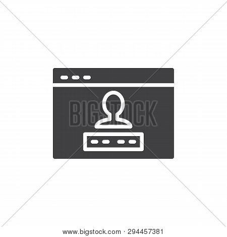 User Account Login Vector Icon. Filled Flat Sign For Mobile Concept And Web Design. Website User Pas