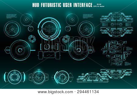 Futuristic Green Virtual Graphic Touch User Interface, Target. Hud Dashboard Display Virtual Reality