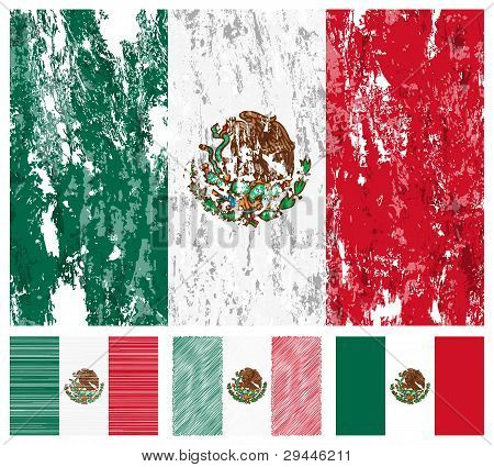 Mexico Grunge Flag Set