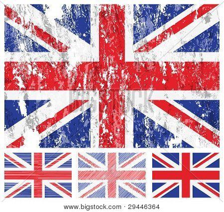 United Kingdom Grunge Flag Set