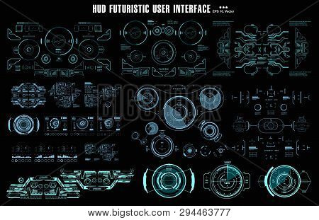 Futuristic Virtual Graphic Touch User Interface, Hud Dashboard Display Virtual Reality Technology Sc