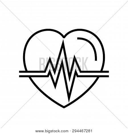 Heartbeat Icon. Automated External Defibrillator Symbol. Simple Monoline Vector Graphic