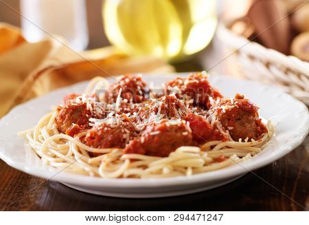 italian spaghetti and meatballs in tomato sauce.