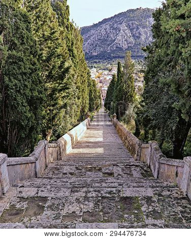 Calvari Steps, No People, Trees And A Black Cat, Pollenca, Mallorca, Spain.