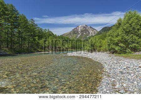 Idyllic Landscape Of Azusa River In Japanese Alps Village Of Kamikochi, Nagano, Japan.