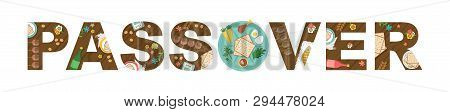 Abstract Passover With Seder Plate In The Middles- Vector