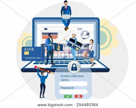 Registration On The Site, Access To The Account, People. Login To The Internet Banking. In Minimalis