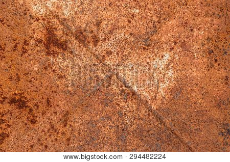 Abstract rusty metal texture, rusty metal background for design with copy space for text, image. Unprotected from wet atmospheric influences of rusty metal. Rusty metal texture background