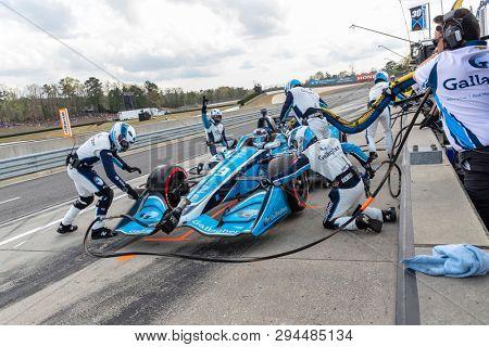 April 07, 2019 - Birmingham, Alabama, USA: MAX CHILTON (59) of England brings his car in for service during the Honda Indy Grand Prix of Alabama at Barber Motorsports Park in Birmingham Alabama.