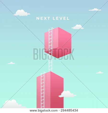 Next Level To Success Visual Concept Design. Double Step Climb The High Giant Wall Towards The Sky W