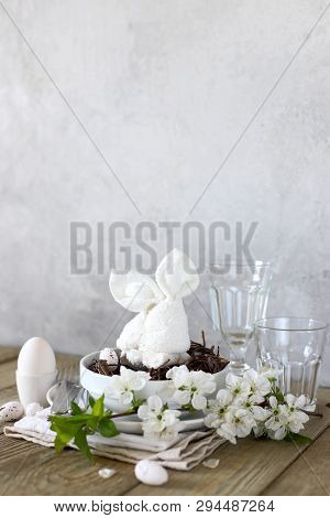 Table Setting For Happy Easter In Rustic Style. Cope Spase