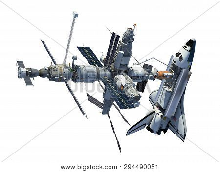 Space Shuttle And Space Station Isolated On White Background. 3d Illustration.