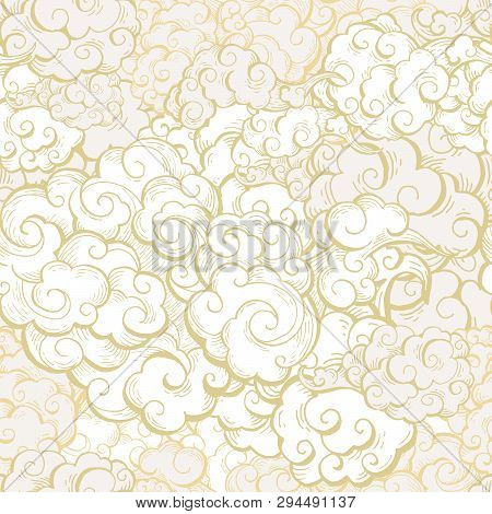 Chinese Clouds Hand Drawn Vector Seamless Pattern. Japanese, Oriental Style Textile Ornament. Golden