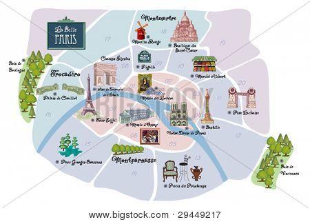 Picturesque Paris map, with famous landmarks, museums, markets, flea markets and parks